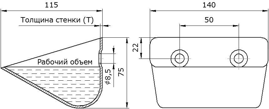 Ковш норийный металлический цельнотянутый КАИБ чертеж
