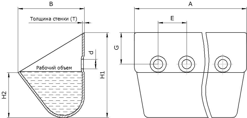 Ковш норийный металлический цельнотянутый КНШ (DIN 15234) чертеж