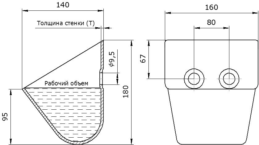 Ковш норийный металлический цельнотянутый КНШ-160 чертеж