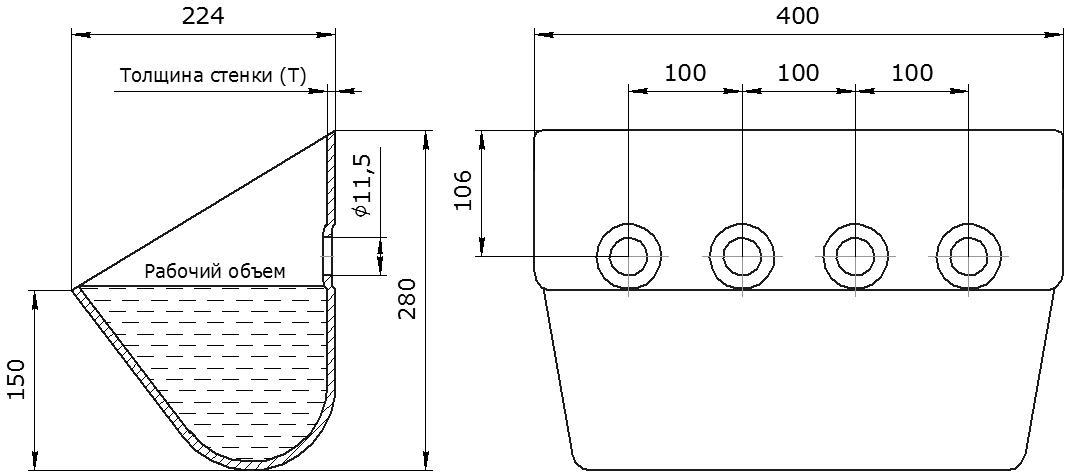 Ковш норийный металлический цельнотянутый КНШ-400 чертеж