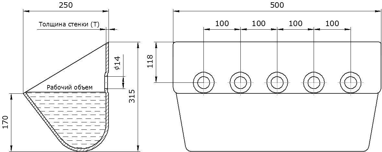 Ковш норийный металлический цельнотянутый КНШ-500 чертеж