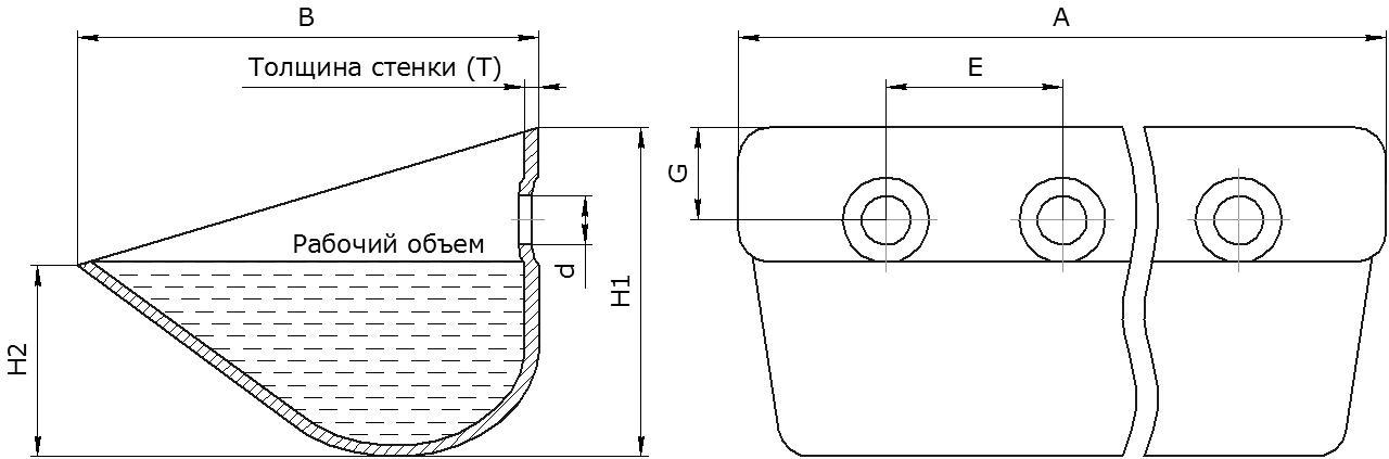 Ковш норийный металлический цельнотянутый тип Ц чертеж
