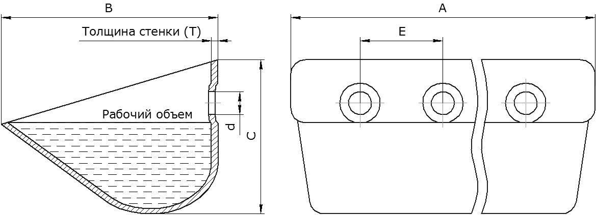 Ковш норийный металлический цельнотянутый тип Euro Jet чертеж