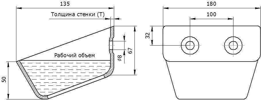 Ковш норийный металлический цельнотянутый УГ-180 чертеж
