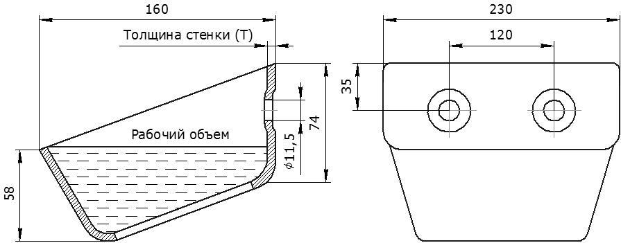Ковш норийный металлический цельнотянутый УГ-230 чертеж
