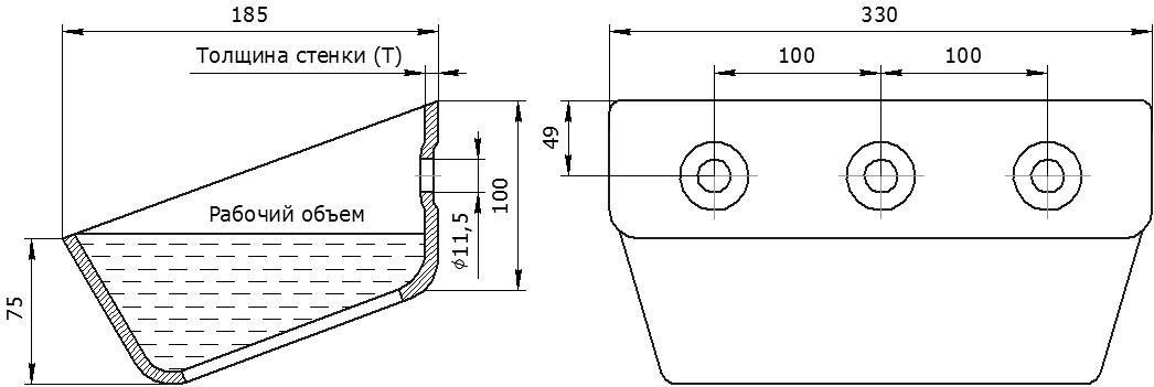 Ковш норийный металлический цельнотянутый УГ-330 чертеж