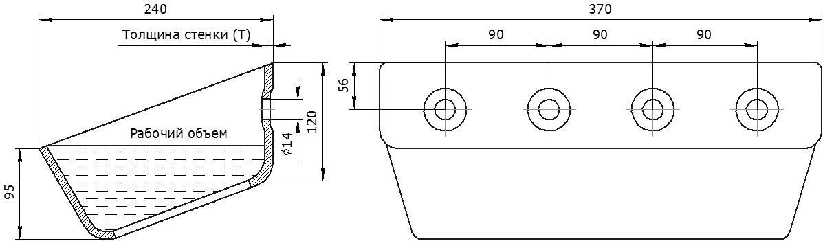 Ковш норийный металлический цельнотянутый УГ-370 чертеж