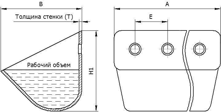Ковш элеватора норийный металлический цельнотянутый УКЗ - общий чертеж
