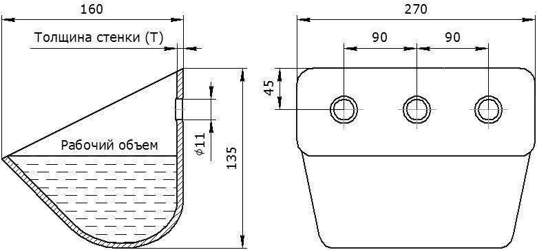 Ковш норийный металлический цельнотянутый УКЗ-100У (усиленный) чертеж