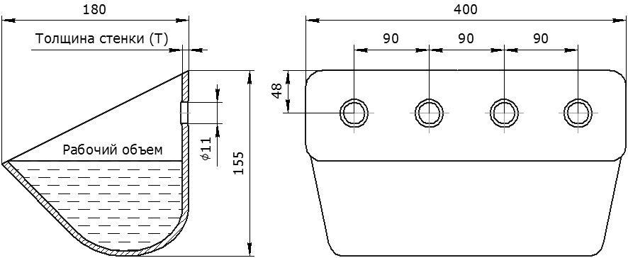 Ковш норийный металлический цельнотянутый УКЗ-175У (усиленный) чертеж