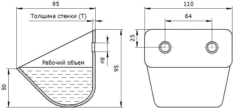 Ковш норийный металлический цельнотянутый ЦБ-110 чертеж