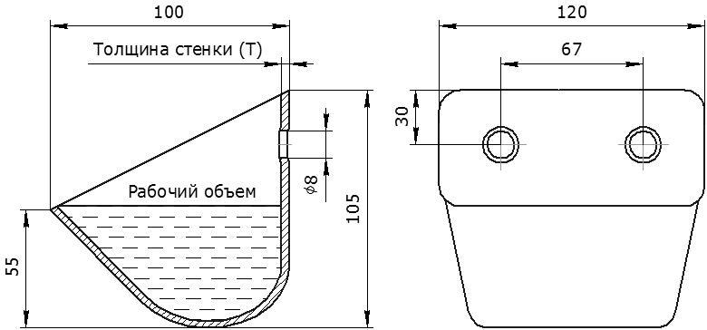 Ковш норийный металлический цельнотянутый ЦБ-120 чертеж