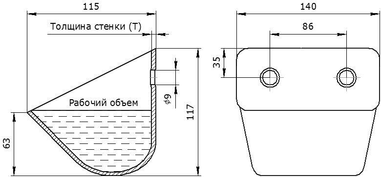 Ковш норийный металлический цельнотянутый ЦБ-140 чертеж
