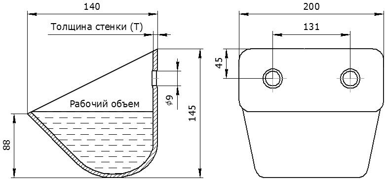Ковш норийный металлический цельнотянутый ЦБ-200 чертеж