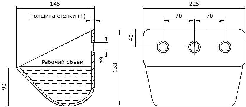 Ковш норийный металлический цельнотянутый ЦБ-225 чертеж