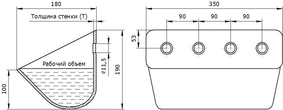 Ковш норийный металлический цельнотянутый ЦБ-350 чертеж