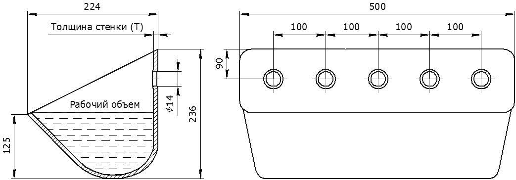 Ковш норийный металлический цельнотянутый ЦБ-500 чертеж
