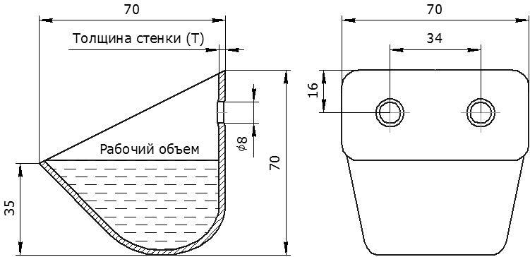 Ковш норийный металлический цельнотянутый ЦБ-70 чертеж