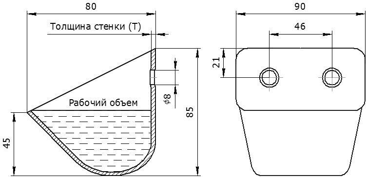 Ковш норийный металлический цельнотянутый ЦБ-90 чертеж