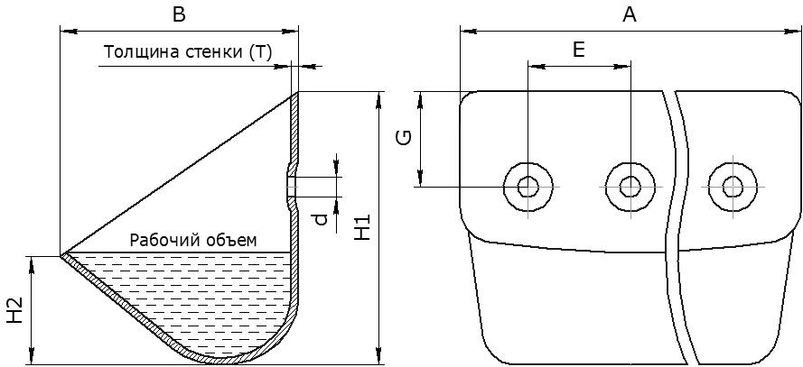 Ковш норийный металлический цельнотянутый тип ЦНК (DIN 15233)