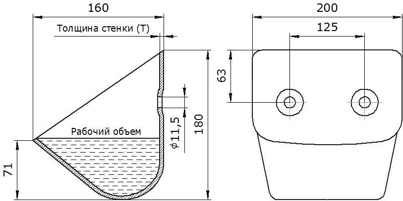 Ковш норийный металлический цельнотянутый ЦНК-200 чертеж