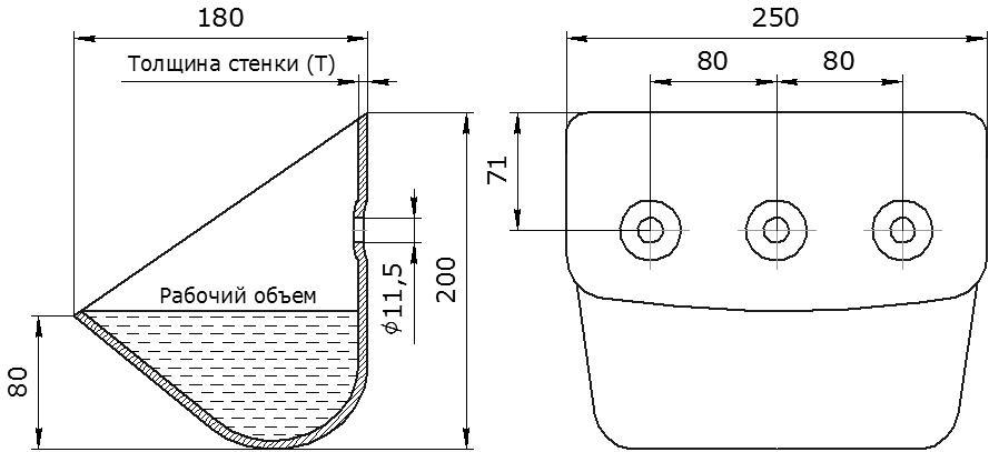 Ковш норийный металлический цельнотянутый ЦНК-250 чертеж