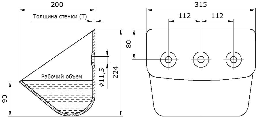 Ковш норийный металлический цельнотянутый ЦНК-315 чертеж