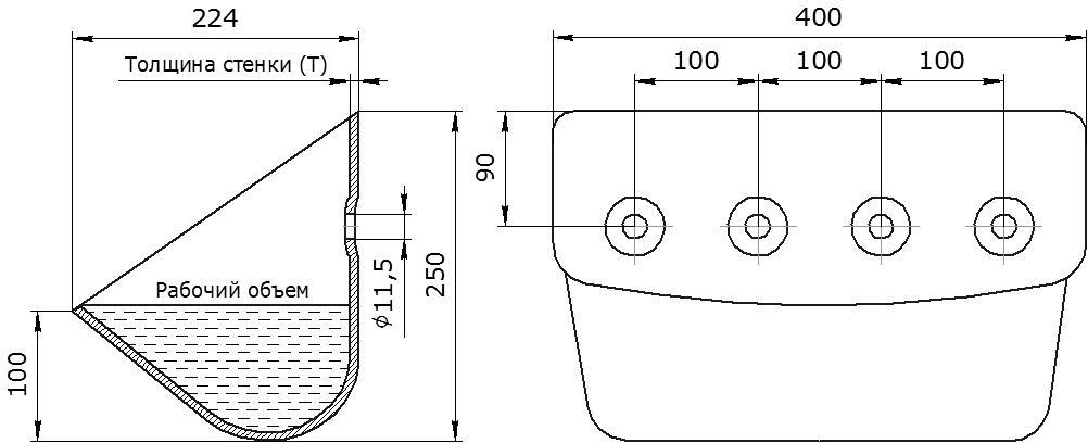 Ковш норийный металлический цельнотянутый ЦНК-400 чертеж