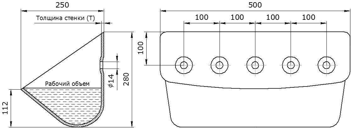 Ковш норийный металлический цельнотянутый ЦНК-500 чертеж