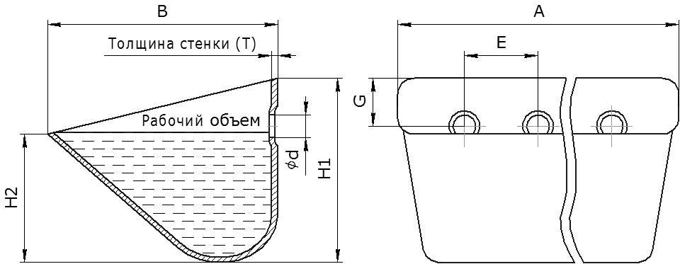 Ковш норийный металлический цельнотянутый тип ЦЦ