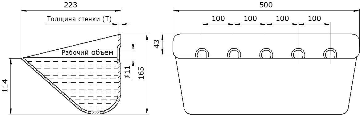 Ковш норийный металлический цельнотянутый ЦЦ-500 чертеж