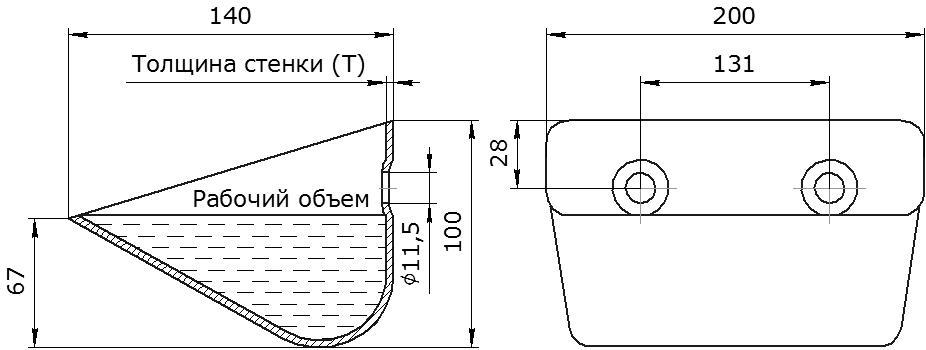 Ковш норийный металлический цельнотянутый Ц-200 чертеж