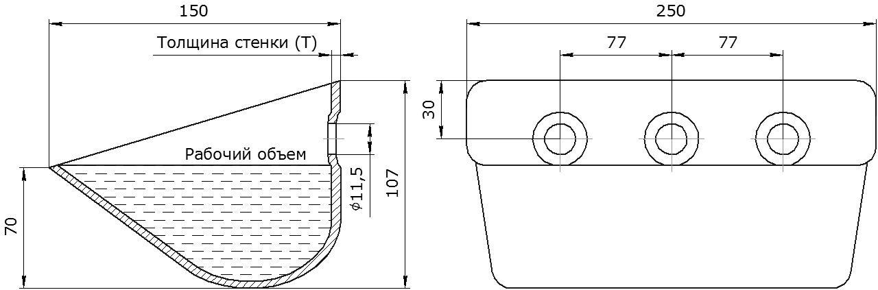 Ковш норийный металлический цельнотянутый Ц-250 чертеж