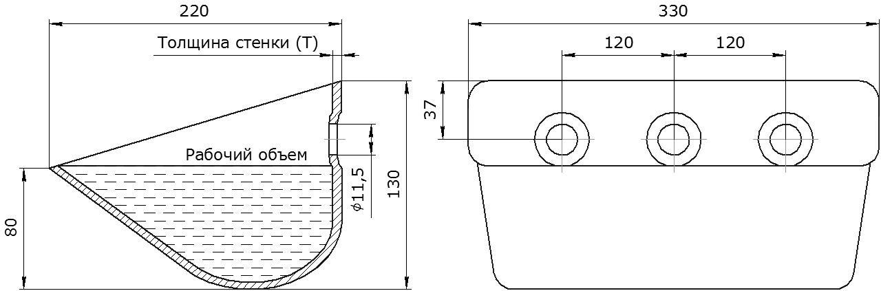 Ковш норийный металлический цельнотянутый Ц-330 чертеж