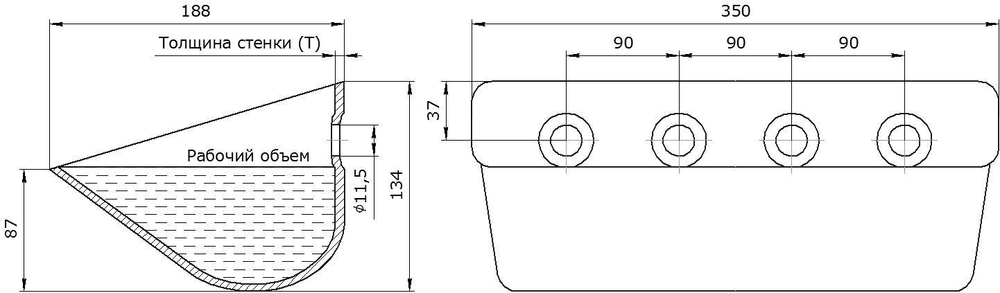 Ковш норийный металлический цельнотянутый Ц-350 чертеж
