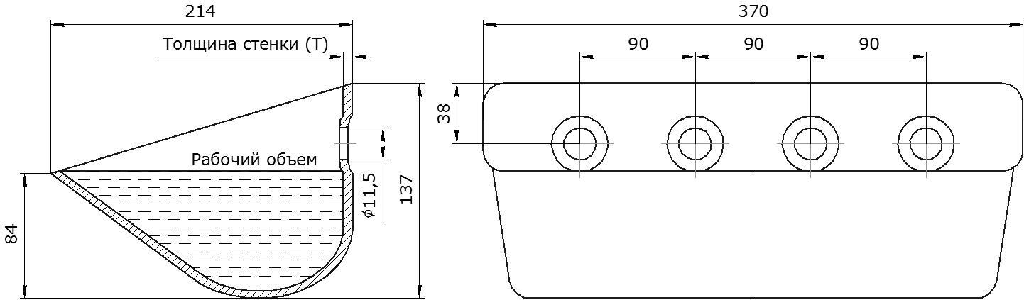 Ковш норийный металлический цельнотянутый Ц-370 чертеж