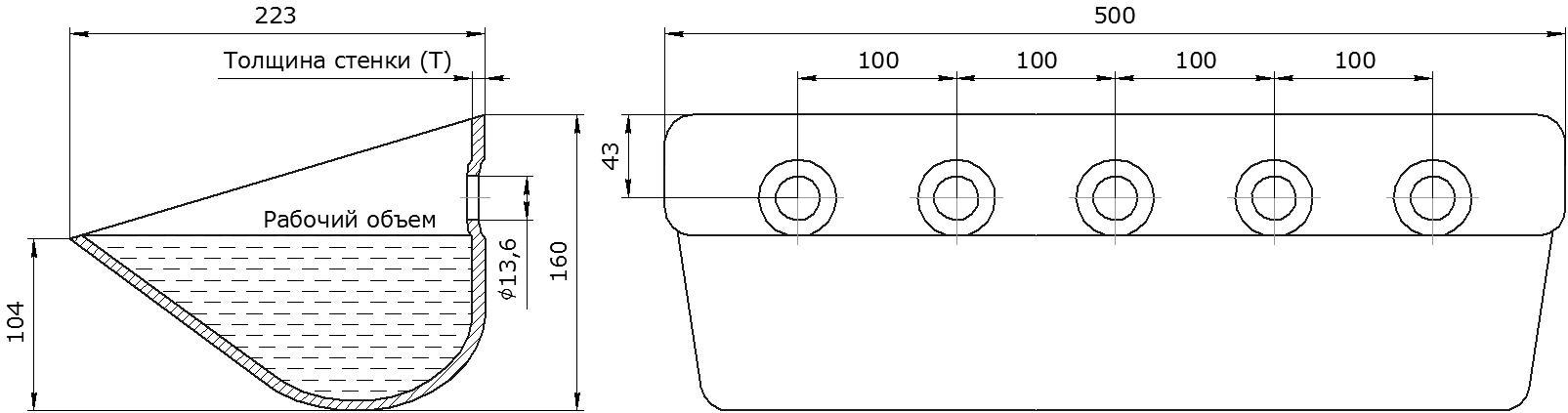 Ковш норийный металлический цельнотянутый Ц-500 чертеж