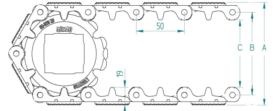 Модульная пластиковая конвейерная лента S. 50-808 F/2 с фрикционными вставками
