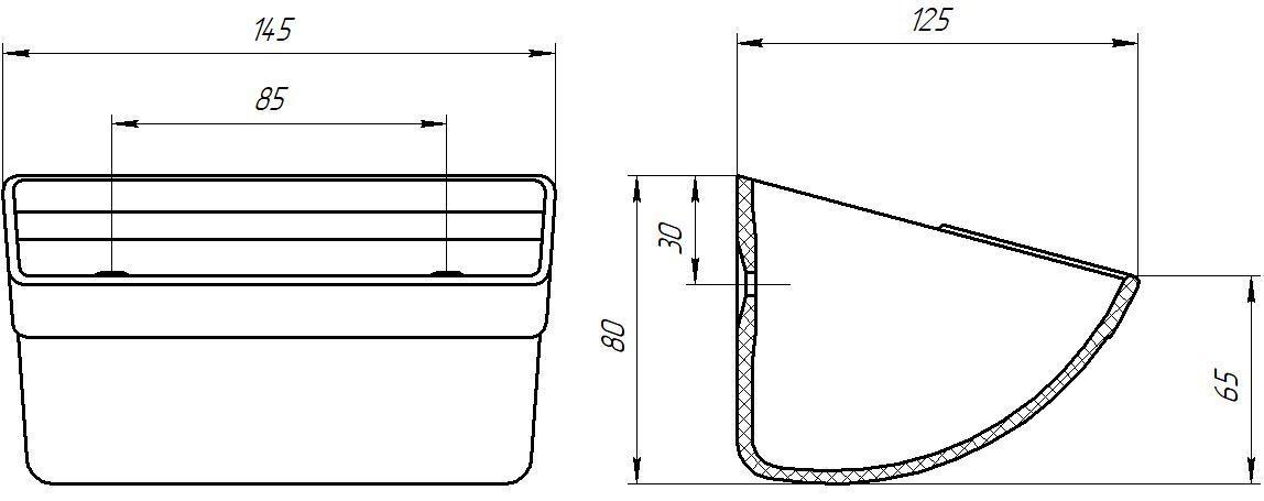 Ковш норийный полимерный МАСТУ 025У (КН.025.002У) усиленный чертеж