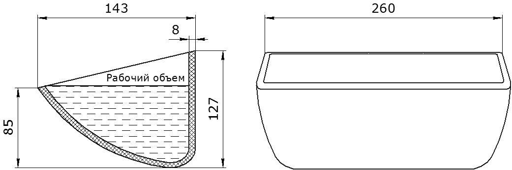Ковш норийный полимерный HD-MAX 10x5 чертеж