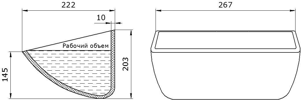 Ковш норийный полимерный HD-MAX 10х8 чертеж