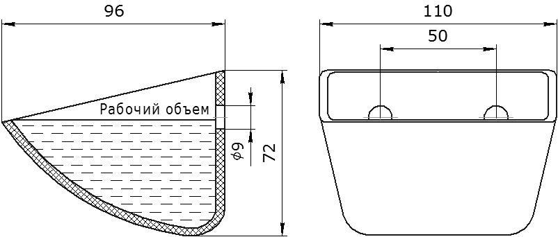 Ковш норийный полимерный Jet 10-090 чертеж
