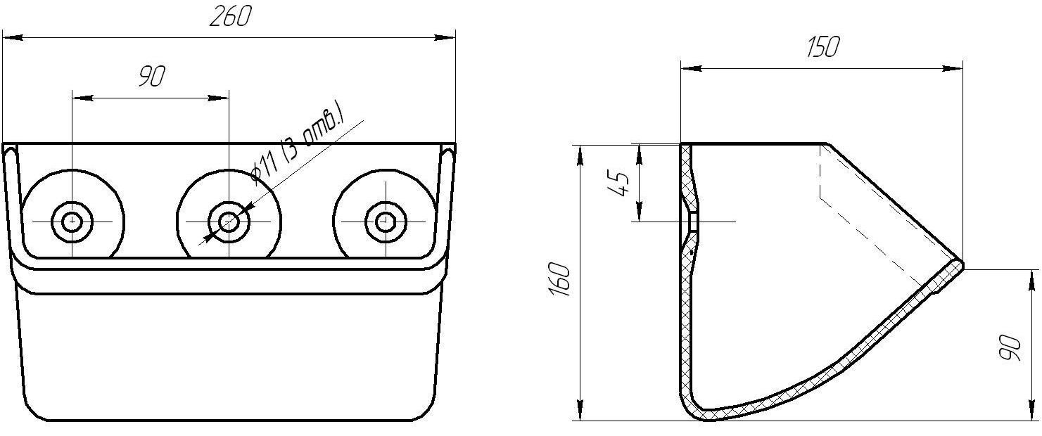 Ковш норийный полимерный МАСТУ 100 (КН.100.002) чертеж