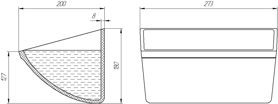 Ковш норийный полимерный CC-S 10х7 чертеж