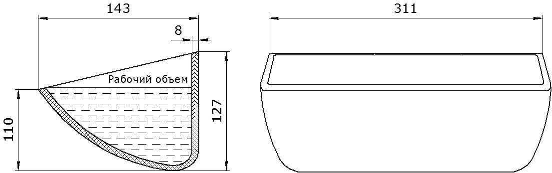 Ковш норийный полимерный HD-MAX 12x5 чертеж