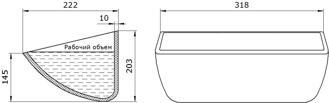 Ковш норийный полимерный HD-MAX 12х8 чертеж