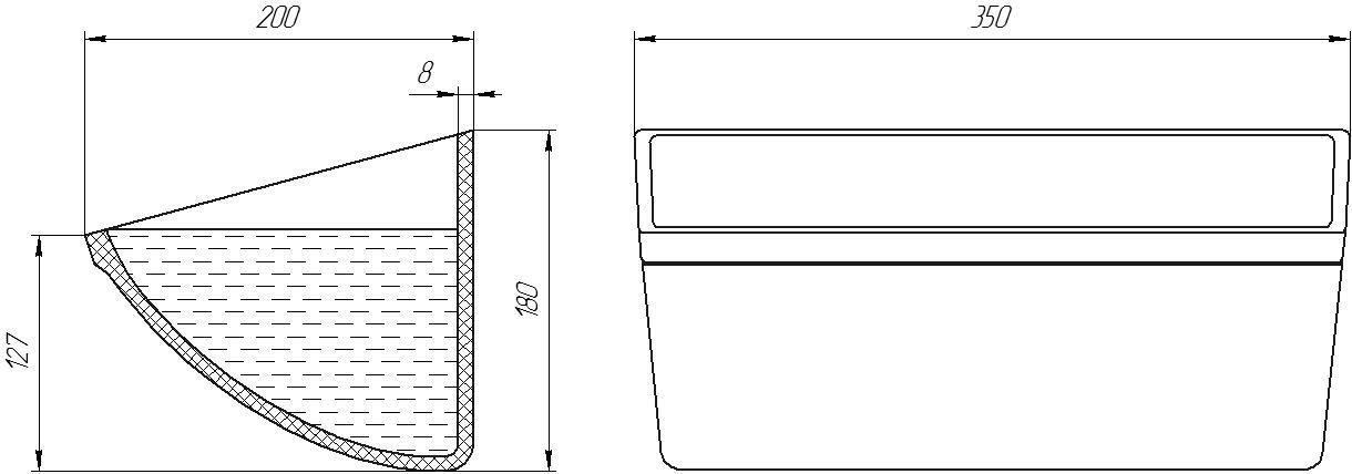 Ковш норийный полимерный CC-S 13х7 чертеж