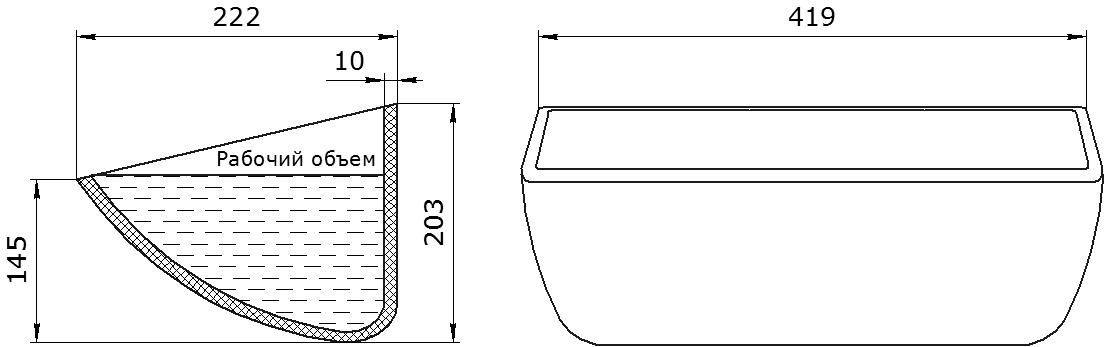 Ковш норийный полимерный HD-MAX 16х8 чертеж