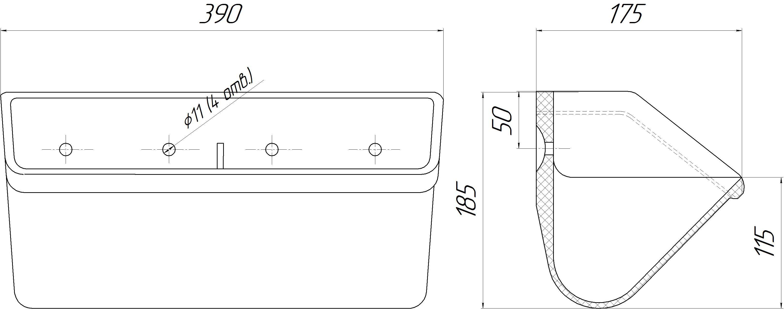 Ковш норийный полимерный МАСТУ 175У (КН.175.002У) усиленный чертеж