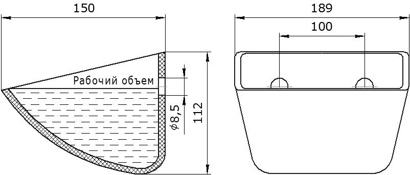 Ковш норийный полимерный Jet 18-140 чертеж